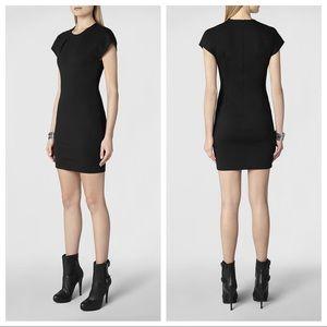 All Saints Black Daphne Jersey Little Black Dress